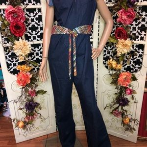 cd9379f484ce Vintage Pants - 70s NEW denim bell bottom jumpsuit romper hippie